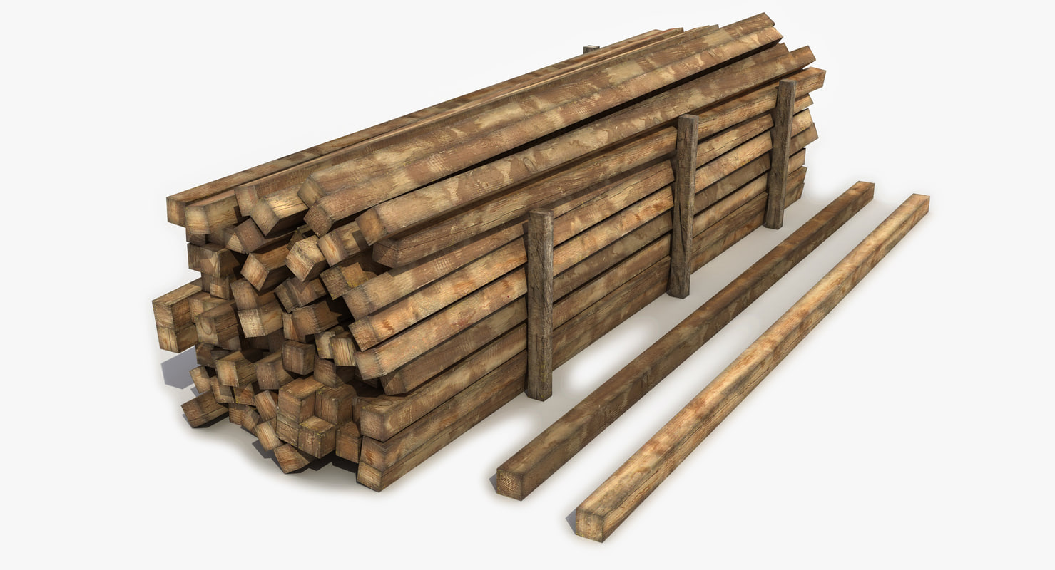 3d model wooden wood beam