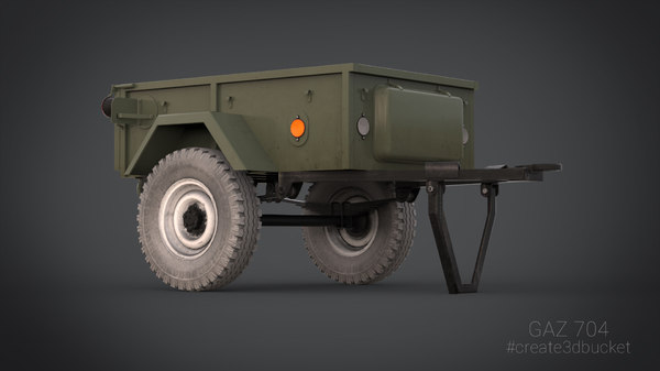 uniaxial trailer gaz 704 3d model