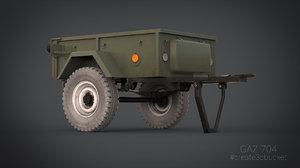 uniaxial trailer gaz 704 3d model