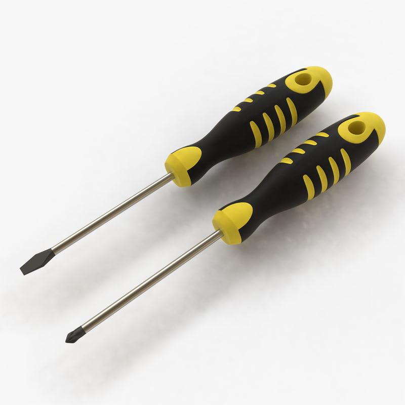 screwdrivers flathead phillips 3d obj