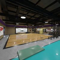 fitness hall 3d max