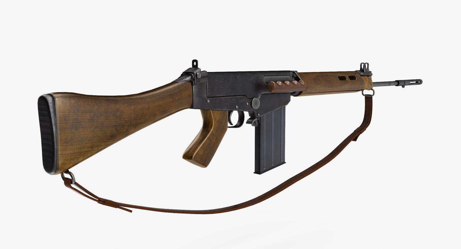 self-loading rifle l1a1 3d model