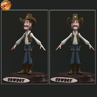 cartoon cowboy boy 3d obj