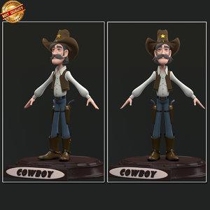 cartoon cowboy boy 3d obj