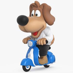3d model cartoon dog scooter