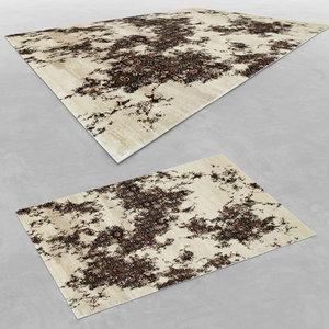 3d model of wool modern carpet rug