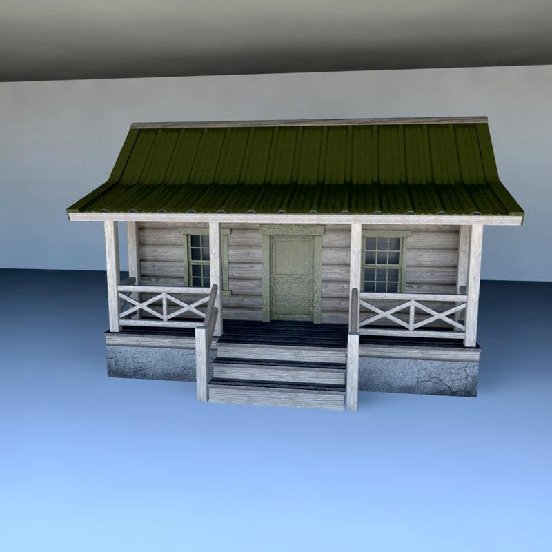 wood cabin 3d ma