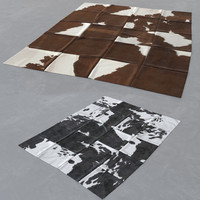 3d cowhide patchwork carpet rug