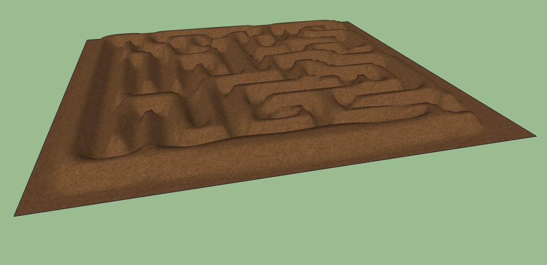 3d landscape maze mounded earth model