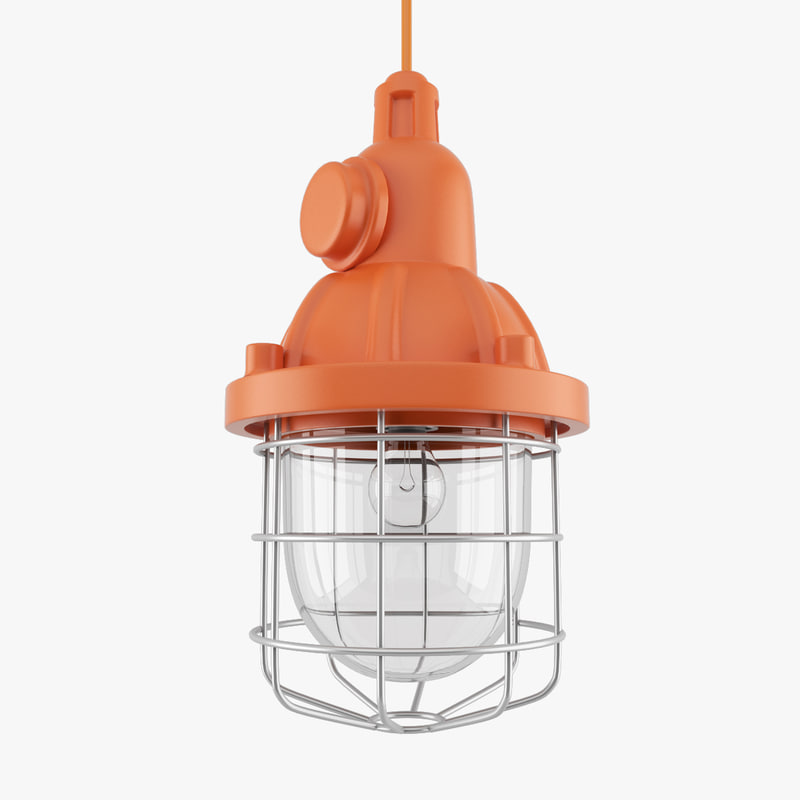 3d model retro ceiling light industrial