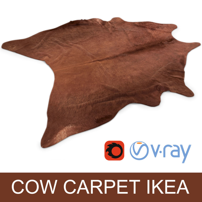 max cowhide rug photorealistic interior On ikea cow hides