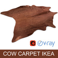 Ikea Koldby brown cow hide carpet rug for photorealistic interior vizualisation
