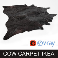 3d cowhide black rug photorealistic model