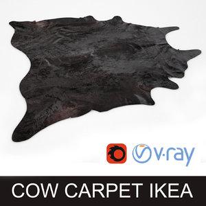 3d cowhide black rug photorealistic model