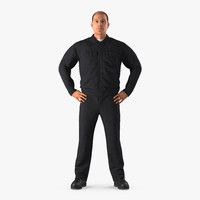 max worker black uniform standing