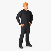 3d model worker black uniform hardhat