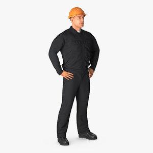 3d model worker black uniform hardhat