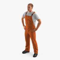 worker orange overalls standing 3d obj