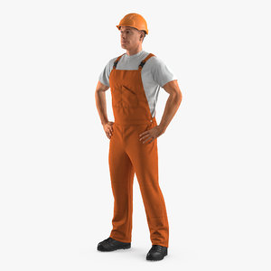 3d worker orange overalls hardhat