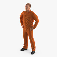 Factory Worker Orange Overalls Standing Pose 3D Model