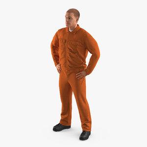 factory worker orange overalls 3d max