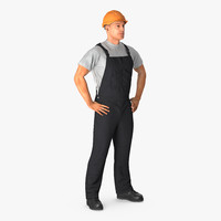 construction worker black uniform obj