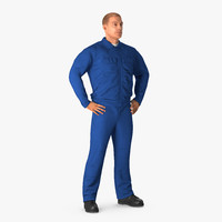 construction worker blue overalls 3d max