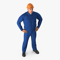 Construction Worker Blue Overalls with Hardhat Standing Pose 3D Model