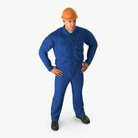 3d construction worker blue overalls