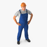 3d construction worker hardhat standing model