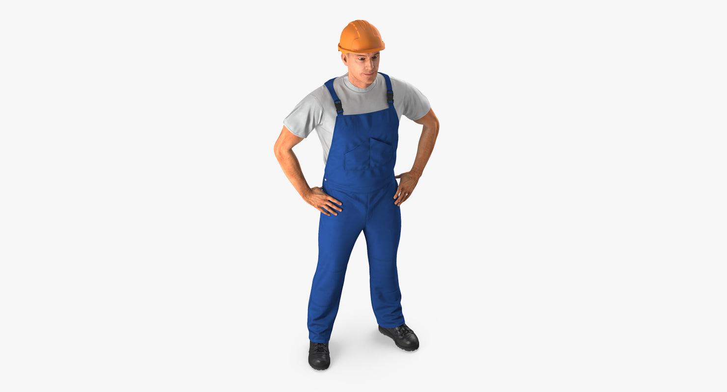 3d construction worker hardhat standing model