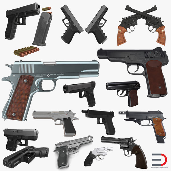 pistols colt makarov beretta 3d model