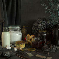 Full Photorealistic Still Life Scene