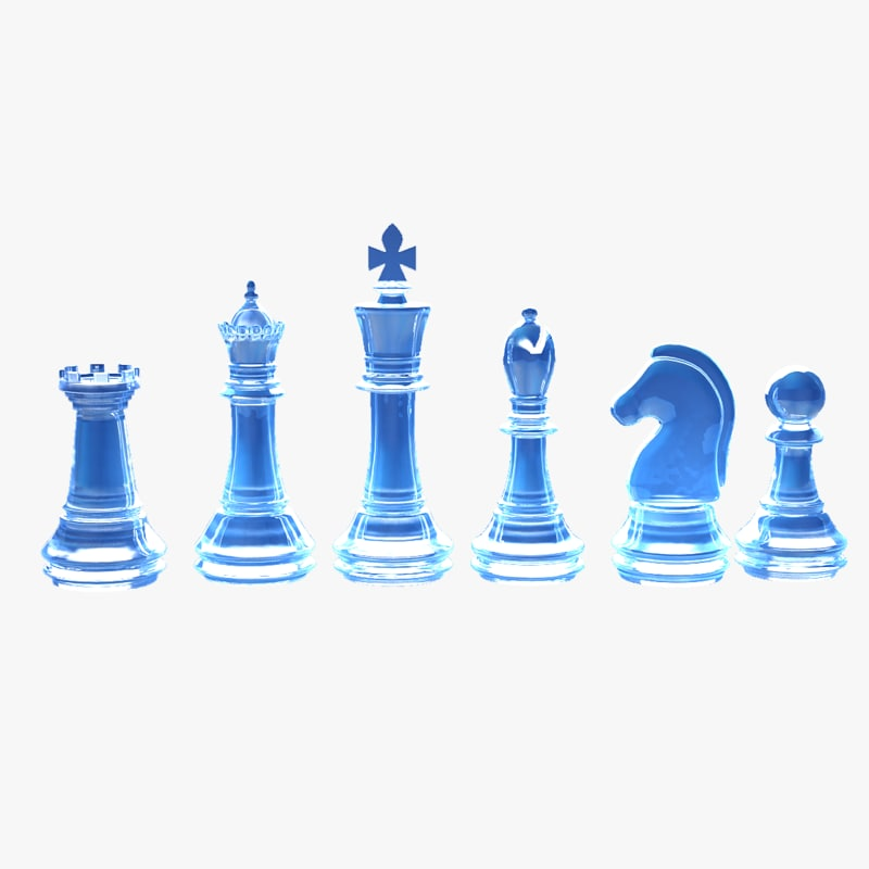 3d ice chess pieces