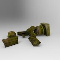 broken pillar 001 3d model