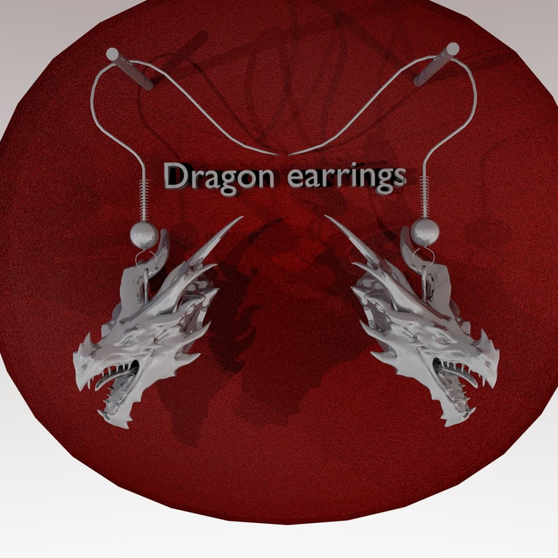 earrings alduin dragon 3d 3ds
