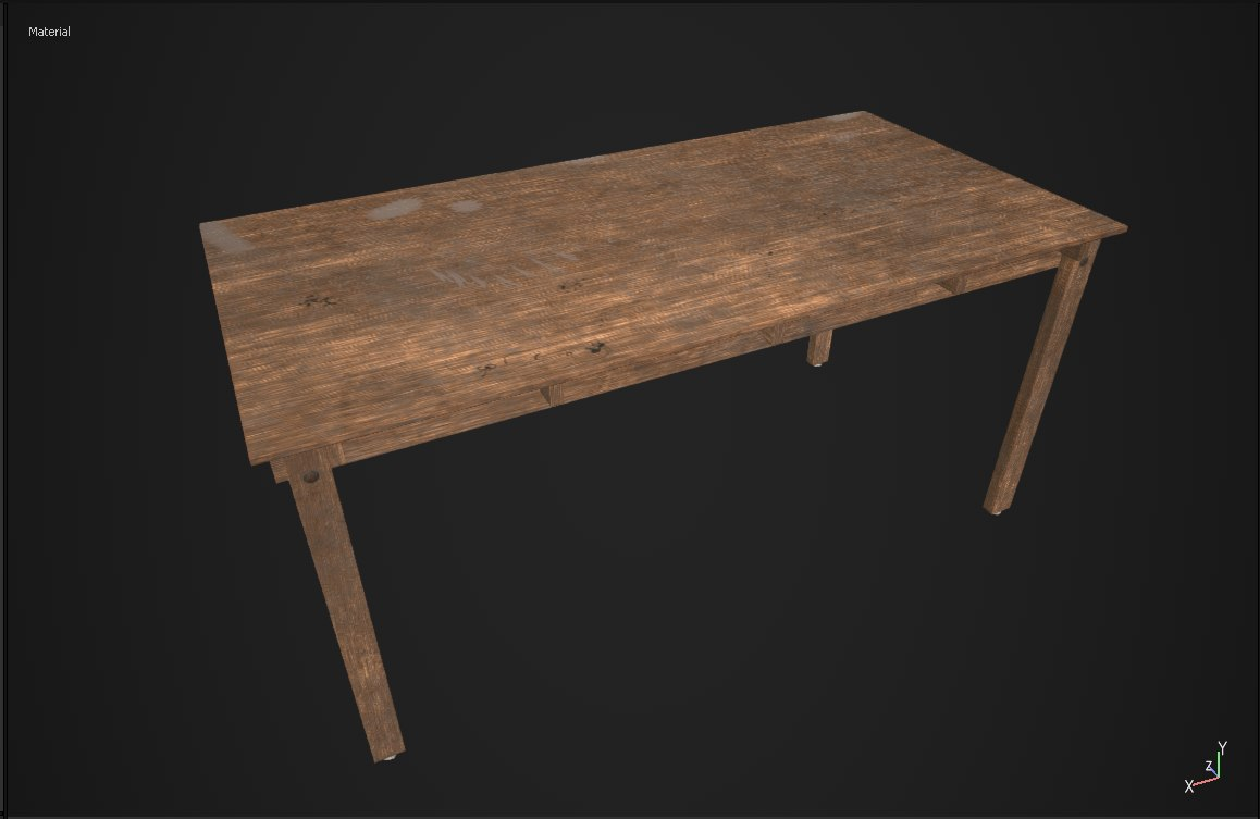 wooden table obj