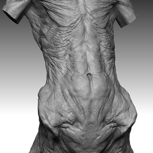 3d model alien monster torso