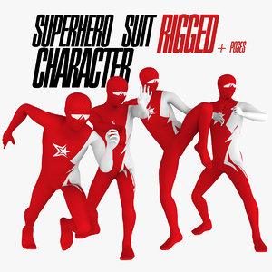 3d super hero rigged poses model