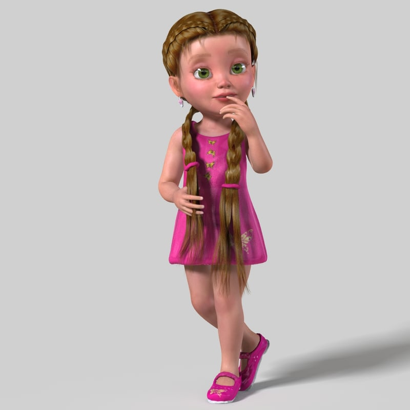 cartoon child girl rigged 3d max