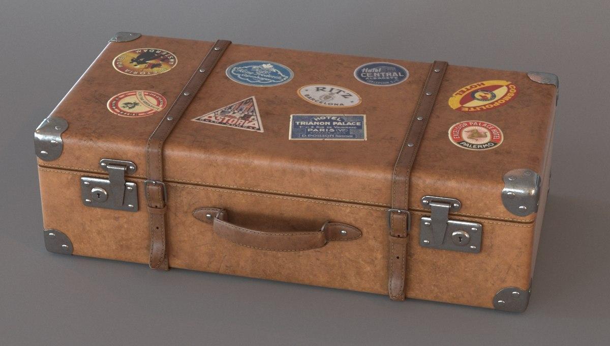 3d old suitcase model