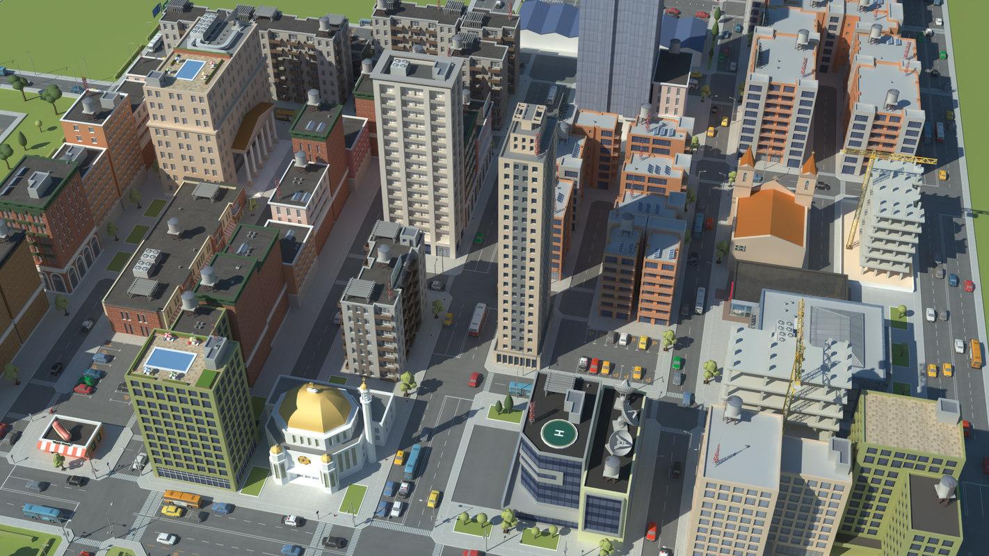 realistic city scene 3d max