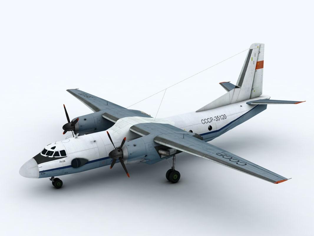 3d model of an-26 aircraft