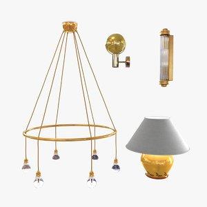 3d lights set lamps model