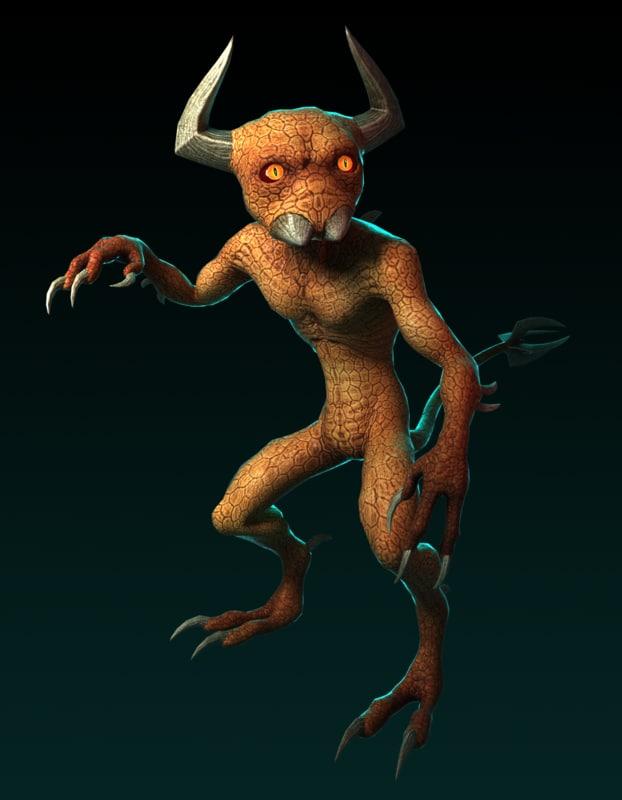 demon gaming 3d obj
