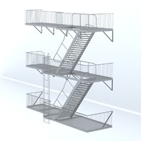 3d escape ladder buildings model