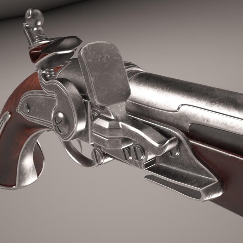 pistol duels weapon 3d model