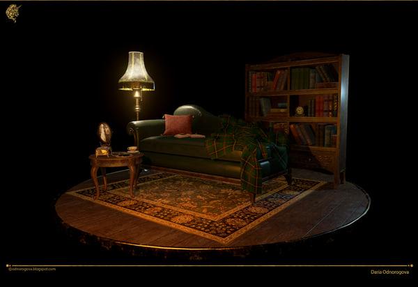 living room 3d ma