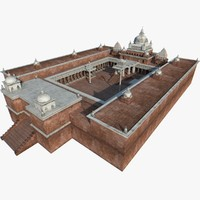 asian buddhist architecture 3d model