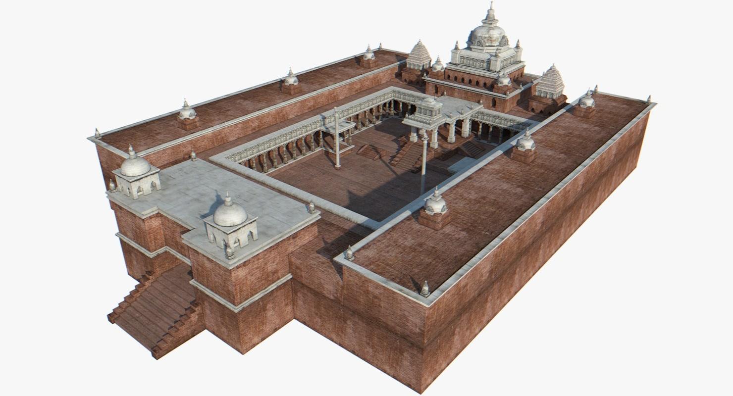 asian buddhist architecture 3d model